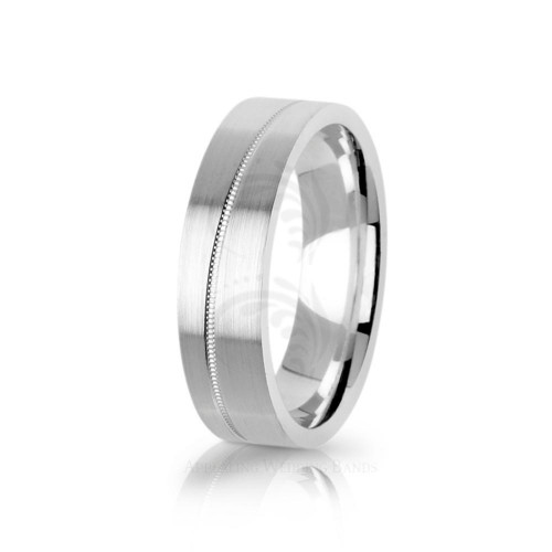 Authentic Satin Stylish Carved Lines Wedding Band 6mm 01739