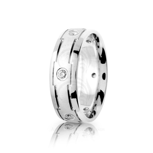 0.3 Carat Round Diamond Center Line Wedding Band 7mm 01777