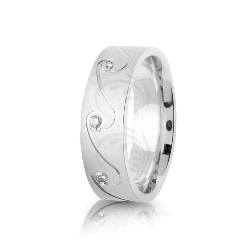 0.16 Ctw Round Diamond Carved Lines Band Wedding 7mm 01782
