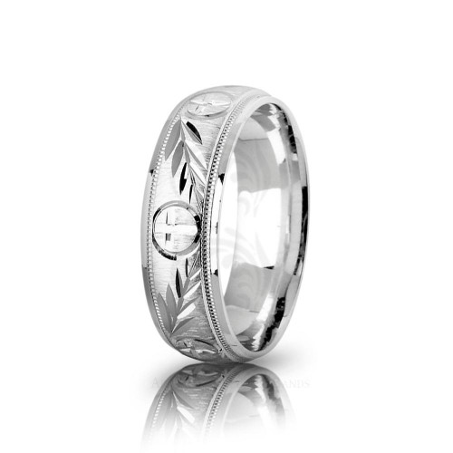 Religious Circle Cross Christian Palm Leaf Wedding Ring Polish 7mm 01812