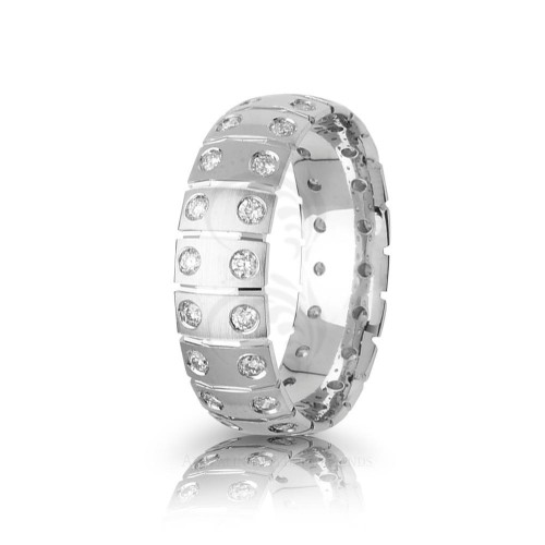 0.8 Carat Round Diamond Basket Weave Wedding Ring 7mm 01830