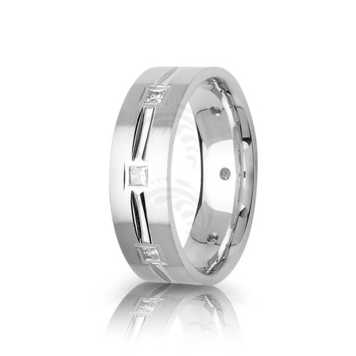 0.32 Carats Princess Diamond Carved Lines Band Wedding 7mm 01835