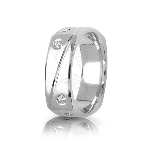 0.32 Carat Round Diamond Square Carved Lines Wedding Band 7.5mm 01844