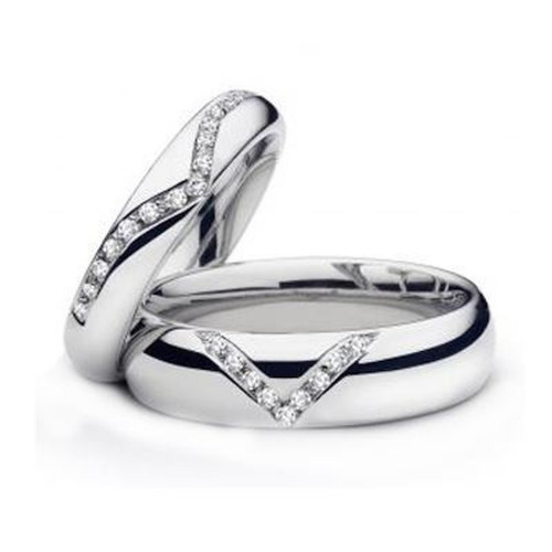 Polish Dome His And Hers Wedding Rings 0.37 Carat Round Diamond 5mm, 6mm 02014