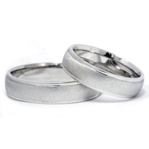 Satin Dome Ladies And Mens Wedding Rings 5mm 02015