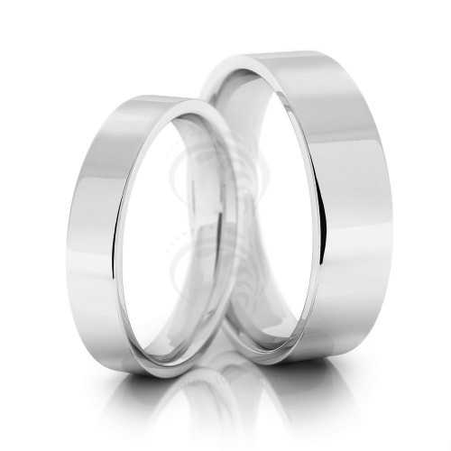 Polish Flat His Hers Wedding Rings 4mm, 6mm 02019