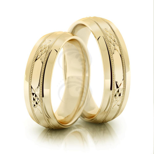Polish Beveled Edge His And Hers Matching Wedding Rings 6mm 02029