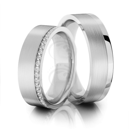 Satin Flat Ladies And Mens Matching Wedding Rings 0.5 Carat Round Diamond 6mm 02035