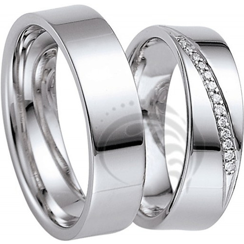 Polish Flat His And Her Wedding Bands 0.07 Ctw Round Diamond 6mm 02040