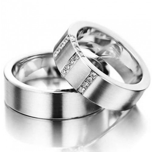 Satin Flat His And Her Wedding Bands 0.22 Carat Round Diamond 7mm 02043