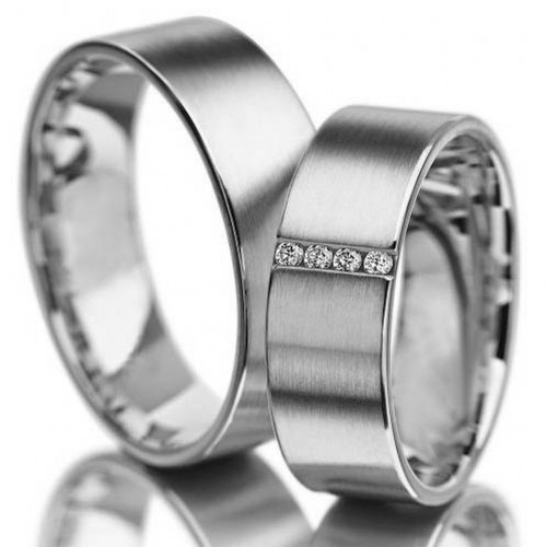 Satin Flat His And Hers Matching Wedding Bands 0.04 Carat Round Diamond 7mm 02048