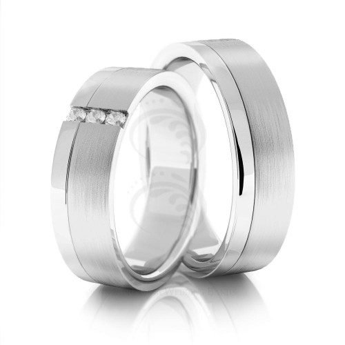 Satin Flat His And Hers Wedding Rings 0.09 Ctw Round Diamond 6mm 02050