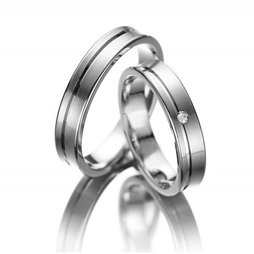 Polish Grooved Concave His And Hers Matching Wedding Bands 0.02 Ctw Round Diamond 6mm 02058