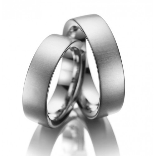 Satin Traditional European Flat Classic Matching Wedding Rings 6mm 02062