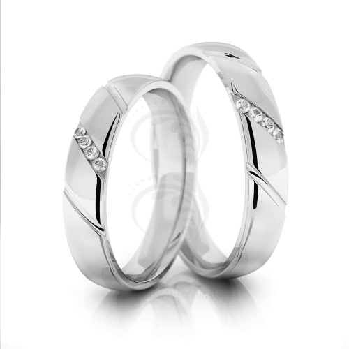 Polish Dome Traditional Classic His And Hers Wedding Rings 0.25 Carat Round Diamond 4mm 02064