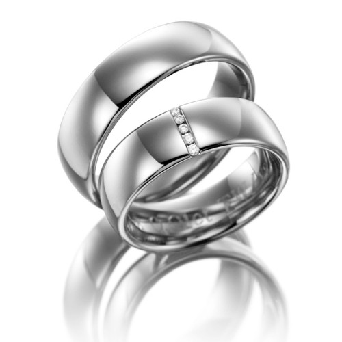 Polish Low Dome Plain His And Hers Matching Wedding Rings 0.05 Ctw Round Diamond 6.5mm 02067