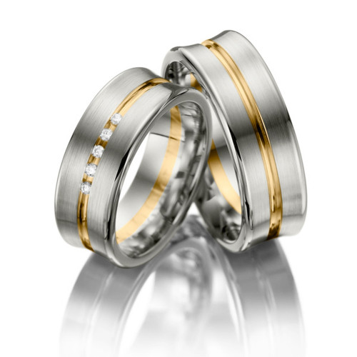 Satin Grooved Concave Matching Wedding Bands 0.05 Ctw Round Diamond 7mm 02069