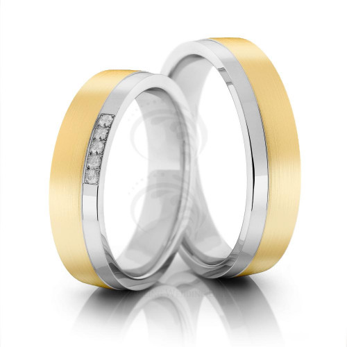 Satin Low Dome Matching Wedding Bands 0.05 Ctw Round Diamond 5mm 02078