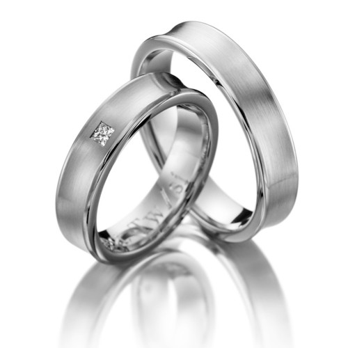 Satin Concave His Hers Wedding Bands 0.06 Ctw Round Diamond 5mm 02087