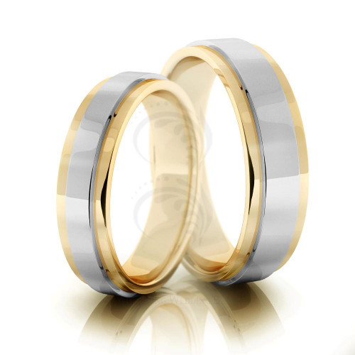 Polish Flat His And Her Wedding Rings 5mm, 6mm 02099