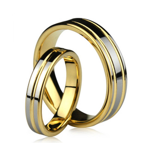 Polish Flat Grooved His And Her Wedding Rings 7mm, 6mm 02107