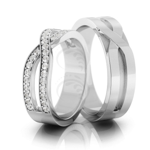 Polish Flat Ladies And Mens Matching Wedding Rings 0.36 Carat Round Diamond 6mm 02108
