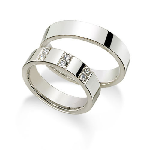 Polish Flat His And Hers Matching Wedding Rings 0.18 Ctw Round Diamond 5mm 02115