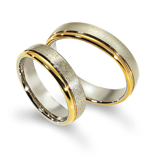 Polish Sandstone European Flat His And Her Wedding Bands 5mm 02119