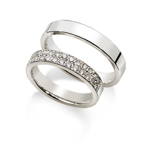 Polish Flat His And Hers Matching Wedding Rings 0.56 Carat Round Diamond 4mm 02125