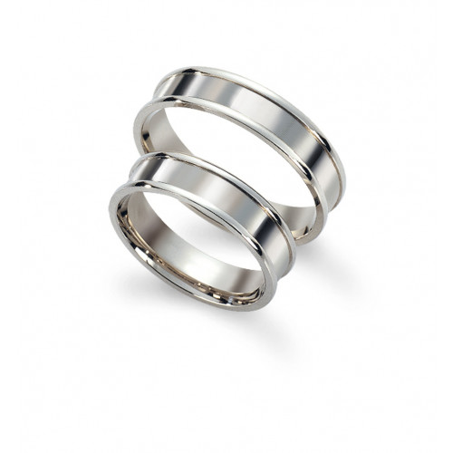 Polish Grooved His Hers Wedding Rings 5mm, 6mm 02127