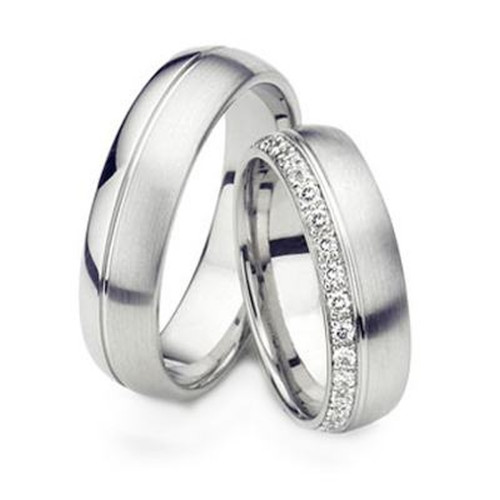 Satin Dome Ladies And Mens Matching Wedding Rings 6mm 02136