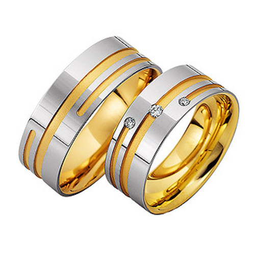 Satin Ladies And Mens Matching Wedding Bands 7.5mm 02141