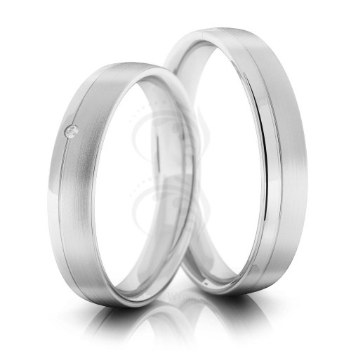 Satin Low Dome Matching Wedding Rings 0.02 Ctw Round Diamond 5mm 02144