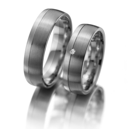 Satin Low Dome Ladies And Mens Matching Wedding Bands 0.02 Ctw Round Diamond 6mm 02146