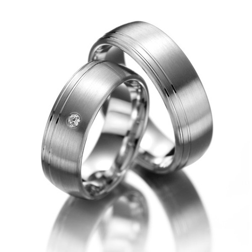 Satin Flat Grooved His And Hers Matching Wedding Rings 0.04 Ctw Round Diamond 7mm 02162