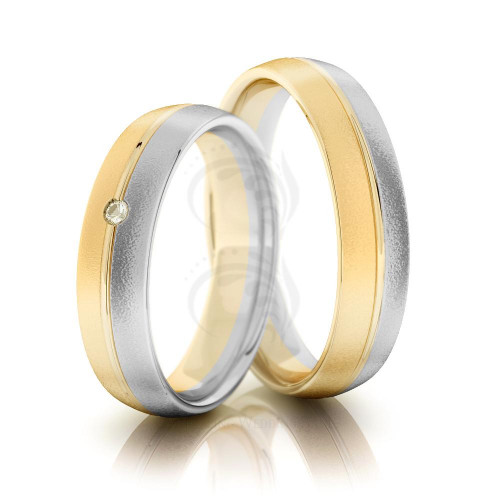 Sandstone Dome Ladies And Mens Matching Wedding Bands 0.02 Ctw Round Diamond 5mm 02167