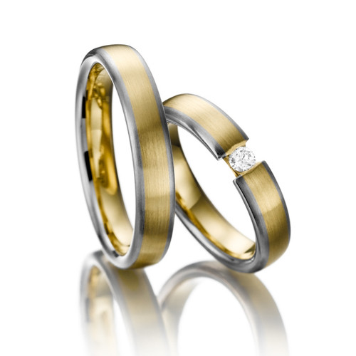 Satin Flat His And Hers Wedding Bands 0.1 Ctw Round Diamond 4.5mm 02171