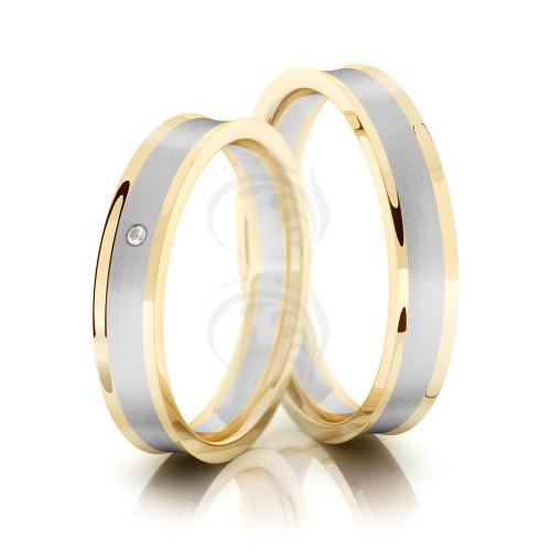 Satin Concave Couples Wedding Rings 0.01 Ctw Round Diamond 4mm 02182
