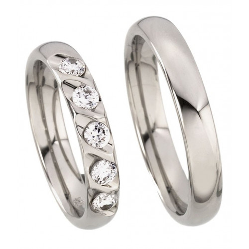 Polish Dome His And Hers Wedding Rings 0.5 Carat Round Diamond 4mm 02183