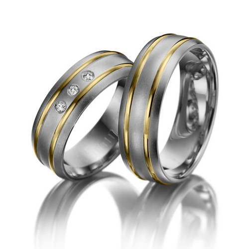 Satin Low Dome Lines His And Hers Matching Wedding Bands 0.06 Ctw Round Diamond 6.5mm 02187