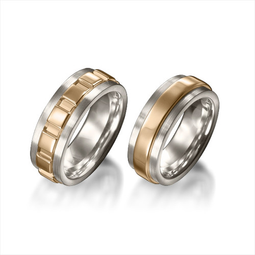 Polish Flat His And Hers Matching Wedding Bands 6mm, 8mm 02188
