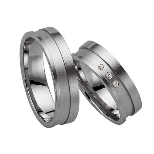 Satin Flat Channel His And Hers Matching Wedding Rings 0.03 Ctw Round Diamond 6mm 02197