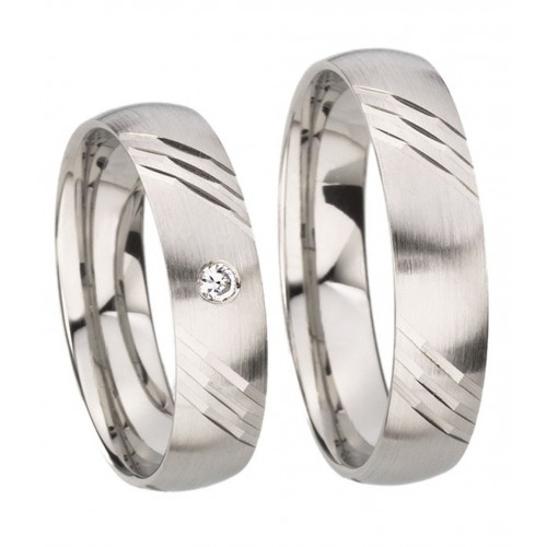 Satin Low Dome Stripes His Hers Wedding Rings 0.03 Ctw Round Diamond 5mm 02202