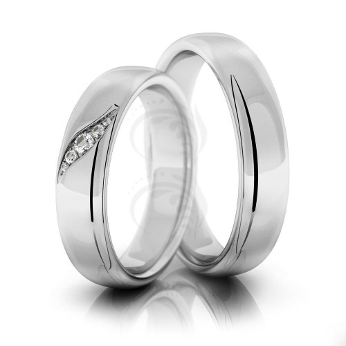 Polish Low Dome His And Hers Matching Wedding Rings 0.05 Carat Round Diamond 5mm 02209