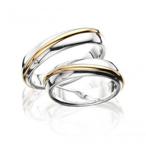 Two Tone 10k White-yellow Gold Wedding Band 5mm 02211 (single ring for size 9)
