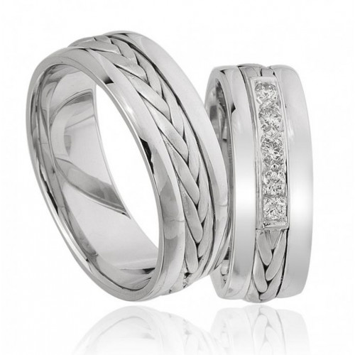 Satin Braided Ladies And Mens Matching Wedding Bands 0.15 Ctw Round Diamond 7mm 02212