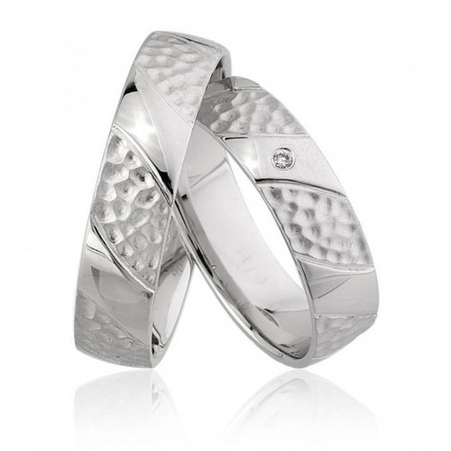 Polish Hammered His And Hers Matching Wedding Bands 0.01 Carat Round Diamond 5mm 02213