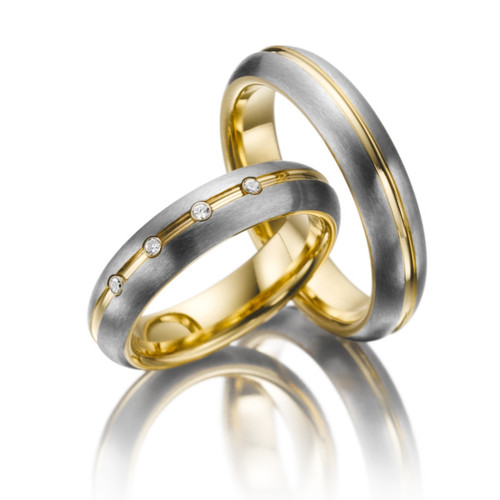 Satin Dome Channel His And Hers Wedding Rings 0.06 Carat Round Diamond 5mm 02218