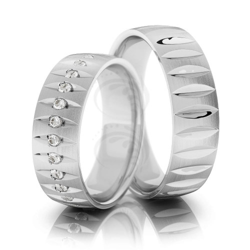 14k White Gold Polish Dome His And Her Wedding Rings 0.56 Ctw Round Diamond 6.5mm 02228