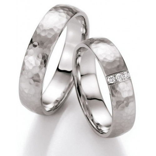 Brush Dome Hammered His And Hers Matching Wedding Bands 0.05 Carat Round Diamond 5mm 02230